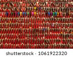 blurred red wall with keys... | Shutterstock . vector #1061922320