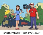 journalists are reporting from... | Shutterstock .eps vector #1061928560