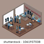 isometric tailor  working with... | Shutterstock .eps vector #1061937038