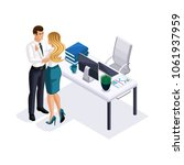 isometric business woman and... | Shutterstock .eps vector #1061937959