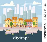 urban landscape with large...   Shutterstock .eps vector #1061944253