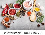 different kind of spices in... | Shutterstock . vector #1061945276