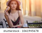 stylish sexy lady waiting for... | Shutterstock . vector #1061945678