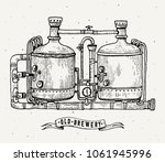retro brewery engraving. copper ... | Shutterstock . vector #1061945996