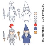 knight and wizard   page for...   Shutterstock .eps vector #1061946260