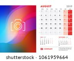 august 2019. desk calendar...   Shutterstock .eps vector #1061959664