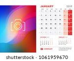 january 2019. desk calendar...   Shutterstock .eps vector #1061959670