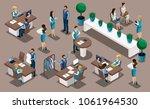 isometry bank  bank employees ... | Shutterstock .eps vector #1061964530