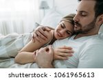 portrait of young loving couple ... | Shutterstock . vector #1061965613