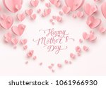 Mother postcard with paper flying elements on white background. Vector symbols of love in shape of heart for Happy Mother's Day greeting card design.