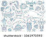 kids coloring page. vector set... | Shutterstock .eps vector #1061970593