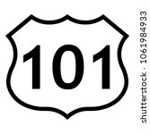 Us Route 101 Sign  Black And...