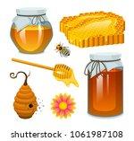 honey in jar  bee and hive ... | Shutterstock .eps vector #1061987108