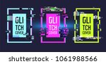 geometric frames with glitch... | Shutterstock .eps vector #1061988566