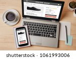 online shop concept on laptop... | Shutterstock . vector #1061993006