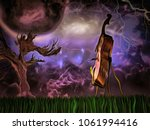 Surreal Painting. Cello. Old...