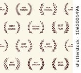 retro film award wreaths.... | Shutterstock .eps vector #1062001496