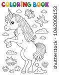 coloring book standing unicorn... | Shutterstock .eps vector #1062008153