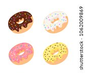 set of four vector donuts with ... | Shutterstock .eps vector #1062009869