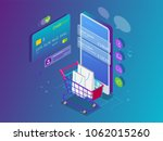 isometric smart phone online... | Shutterstock .eps vector #1062015260