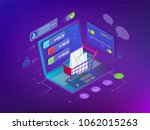isometric smart phone online... | Shutterstock .eps vector #1062015263