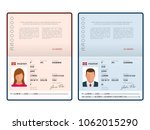 Stock vector vector blank open passport template international passport with sample personal data page 1062015290
