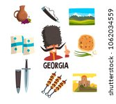 georgia icons set. ceramic... | Shutterstock .eps vector #1062034559