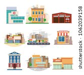 city buildings. fire station ... | Shutterstock .eps vector #1062039158