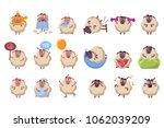 funny sheep cartoon characters... | Shutterstock .eps vector #1062039209