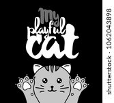 gray cat. lettering with text ... | Shutterstock .eps vector #1062043898