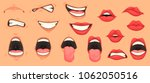 cartoon cute mouth expressions... | Shutterstock .eps vector #1062050516
