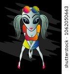 cheerful ufo aliens girl in... | Shutterstock .eps vector #1062050663