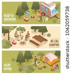 summer camping hiking... | Shutterstock .eps vector #1062059738