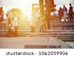 a cyclist jumps over a pipe on...   Shutterstock . vector #1062059906