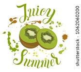 juicy summer inscription on the ... | Shutterstock .eps vector #1062060200