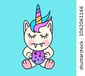 a cute little unicorn monster... | Shutterstock .eps vector #1062061166
