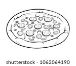 round pizza coloring vector... | Shutterstock .eps vector #1062064190
