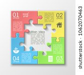 four sided 3d puzzle... | Shutterstock .eps vector #1062070463