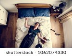 exhausted business woman... | Shutterstock . vector #1062074330