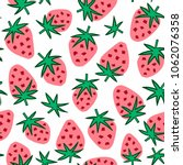 strawberry seamless background. ... | Shutterstock .eps vector #1062076358