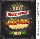 best hot dogs here chalkboard... | Shutterstock .eps vector #1062076754