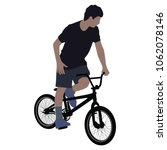 a male bicyclist riding a... | Shutterstock .eps vector #1062078146
