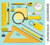 school supplies  yellow... | Shutterstock .eps vector #1062080648