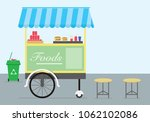 food cart tricycle at road side | Shutterstock .eps vector #1062102086