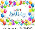 blue text happy birthday on... | Shutterstock .eps vector #1062104900