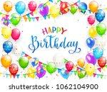 blue text happy birthday on...   Shutterstock .eps vector #1062104900