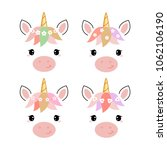 adorable unicorn heads isolated ... | Shutterstock .eps vector #1062106190