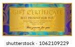 gift certificate template ... | Shutterstock .eps vector #1062109229