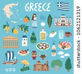 vector icon set of greece's... | Shutterstock .eps vector #1062121319