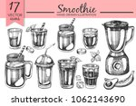vector set with smoothie... | Shutterstock .eps vector #1062143690